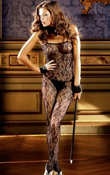 Sensual Jazz Flower Lace Bodystocking