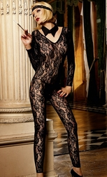 Long sleeve Footless Lace Bodystocking