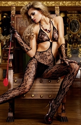 Black Flower Lace Bodystocking