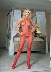 SEAMLESS FISHNET HALTER BODYSTOCKING OPEN CROTCH