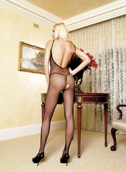 SEAMLESS FISHNET V-BACK BODYSTOCKING OPEN CROTCH HOSIERY
