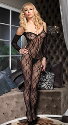 STRETCH FLOWER LACE BODYSTOCKING WITH ATTACHED SLEEVES OPEN CROTCH HOSIERY