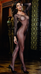 Black Diamond Fishnet Long Sleeved Bodystocking