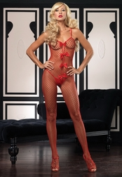 Satin Bow & Net Bodystocking