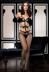 Rhinestone Buckle & Net Bodystocking