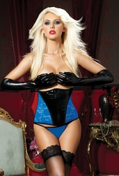 Blue Royale Lace and Liquid Lame Waist Cincher