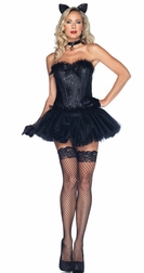 5 PC Black Cat Babe Costume
