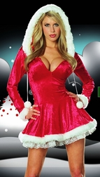 Seasonal Sweeties Santa Velvet Dress with Faux Fur Trim