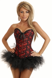 Red Lace Burlesque Corset & Pettiskirt