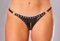 Plus Size Leather Cut Out Chain & Stud Thong