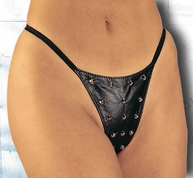 Plus Size Studded Leather G-String