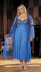 Plus Size 2 PC Long Gown Peignoir Set