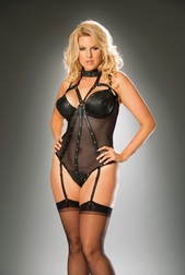 Plus Size Leather & Fishnet Sexy Teddy