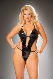 Plus Size Vixen V Vinyl Thong Back Teddy