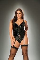 Plus Size Lovely Lace Up Thong Back Teddy