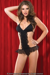Gathered Mesh And Knit Teddy With Halter