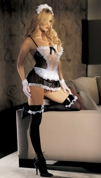 H.O.T. Fishnet and Lace 4 PC Maid Set