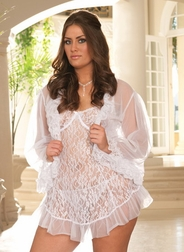 Plus Size Serena's Fancy Lace Babydoll Set