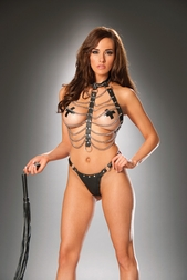 2 PC Leather and Chain Vest Set
