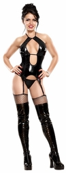 Liquid Onyx Double Keyhole Merry Widow & G-String