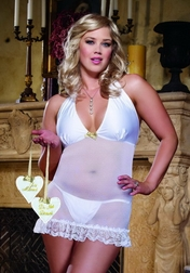 Plus Size White Diamond Wedding Suite Chemise