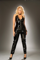 Plus Size Deep V Vinyl Catsuit