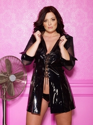 Plus Size Vinyl & Mesh Lace Up Dress