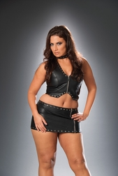 Plus Size Leather Cross Cut Out Skirt