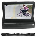 4.3'' Pop-Up Monitor & Aluminum Black Chrome License Plate Rear View Back Up Camera w/ Distance Scale Lines