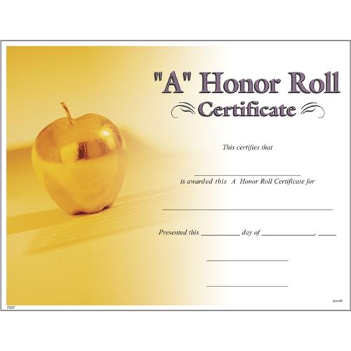A Honor Roll Certificates, Photo A Honor Roll Certificate