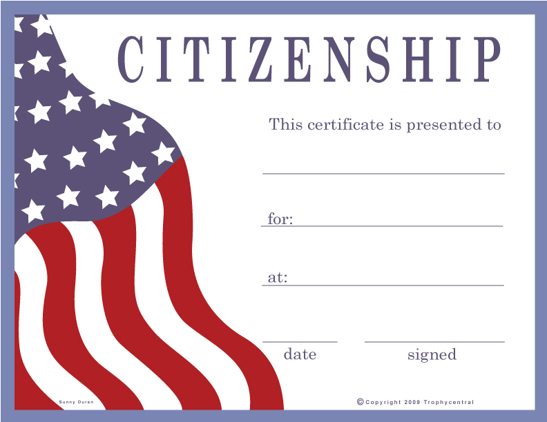 good citizenship certificates