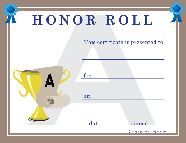 Adorable image inside free printable honor roll certificates