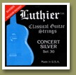 Luthier Set 30 Concert White Silver Classical Guitar Strings Medium/Hard Tension