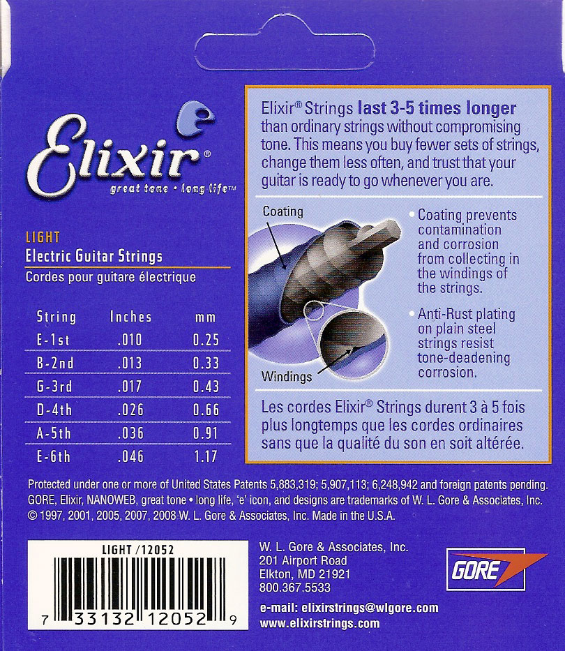 Elixir Anti-Rust Nanoweb Coated Electric Guitar Strings