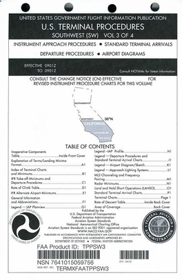 FAA TPPSW3 Approach Chart Southwest Vol. 3 - Loose Leaf