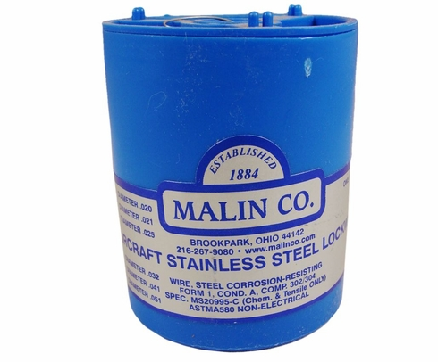 "Malin MS20995C21 Stainless Steel Safety Wire (1 lb. Roll) - 0.021"" Diameter - ASTM A580"