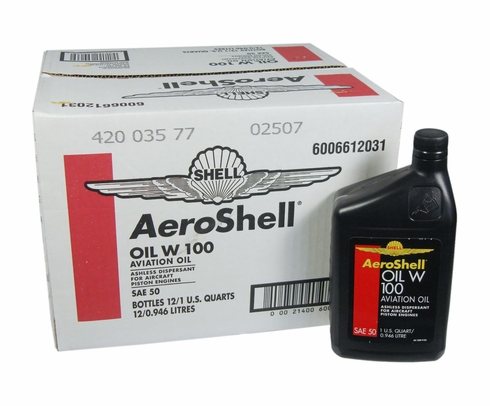 AeroShell Oil W100 SAE Grade 50 Ashless Dispersant Aircraft Oil - 12 Quart/Case