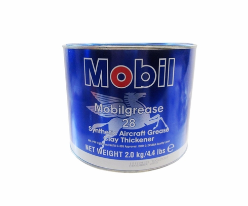 Exxon Mobil Mobilgrease 28 Red MIL-PRF-81322G Spec Synthetic Aviation Grease - 2 Kg (4.4 lb) Can