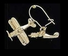 Johnson's Jewelry BIPLEAR-G Biplane Earrings, Gold