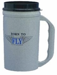 """Born To Fly"" Gray Cold Travel Mug"