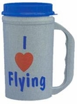 """I Love Flying"" Gray Cold Travel Mug"