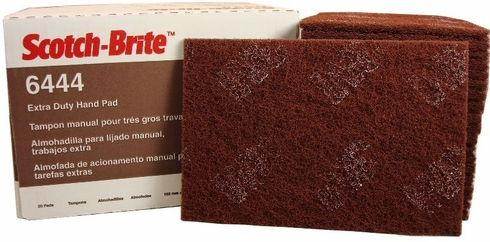 3M 048011-16553 Scotch-Brite 6444 Brown Extra Duty Hand Pad - 20 Pads/Box