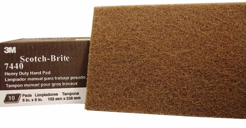 3M 048011-04050 Scotch-Brite 7440 Tan Heavy Duty Hand Pad - 10 Pads/Box