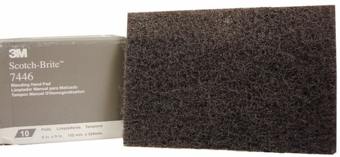 3M 048011-04051 Scotch-Brite 7446 Gray Blending Hand Pad - 10 Pads/Box