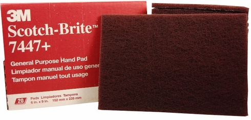 "3M 048011-04029 Scotch-Brite 7447 Maroon 6"" x 9"" General Purpose Pad - 20 Pads/Box"