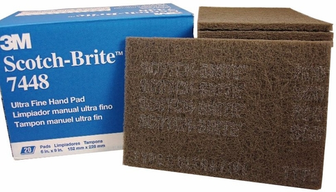 3M 048011-04028 Scotch-Brite 7448 Gray Ultra-Fine Light Gray Hand Pads - 20 Pads/Box