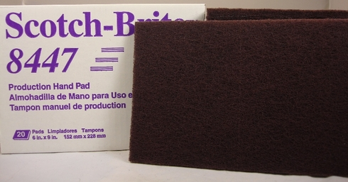 3M 048011-24037 Scotch-Brite 8447 Maroon Production Hand Pad - 20 Pads/Box