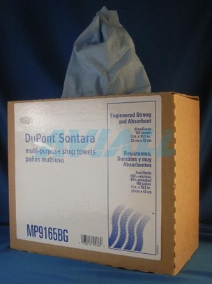 "DuPont MP9165BGA Sontara Smooth Shop Towels - Blue/Green - 9"" x 16.5"" - 100 Count - 1 Box"