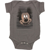 Mickey Mouse Face Stripes Snap Suit