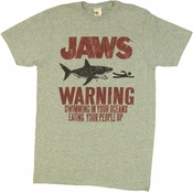 Jaws Warning T Shirt Sheer